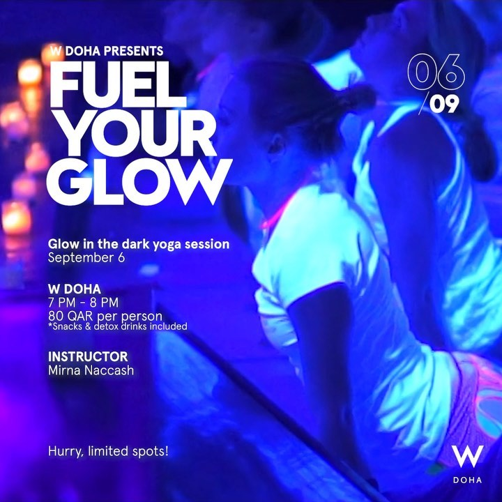 Glow in the dark Yoga session at W Doha
