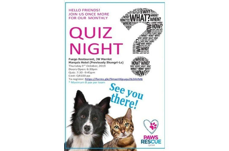 Paws Rescue Quiz at Fuego Restaurant