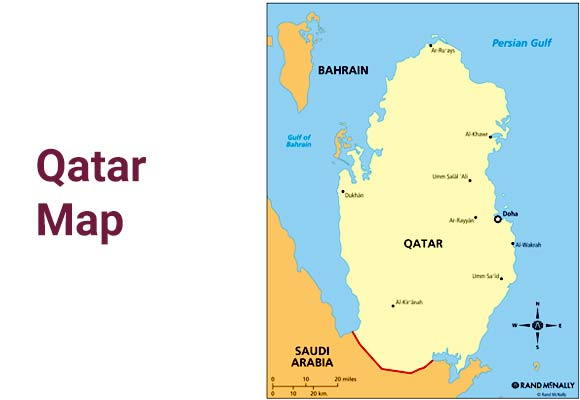Qatar Map and Geography on jordan on a map, arabian peninsula on a map, arabian sea on a map, middle east on a map, baghdad on a map, west bank on a map, gaza strip on a map, turkmenistan on a map, tunisia on a map, russia on a map, swaziland on a map, iran on a map, dead sea on a map, singapore on a map, kuwait on a map, bahrain on a map, palestine on a map, turkey on a map, cyprus on a map, kirkuk on a map,